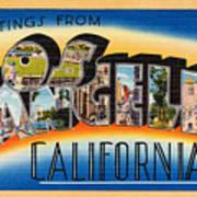 Los Angeles Vintage Travel Postcard Restored Art Print