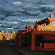 Los Farolitos,the Lanterns, Santa Fe, Nm Print by Erin Fickert-Rowland