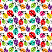 Lots Of Crayon Colored Ladybugs Art Print