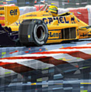 Lotus 99t 1987 Ayrton Senna Art Print by Yuriy  Shevchuk