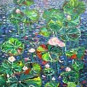 Lotus Flower Water Lily Lily Pads Painting Art Print