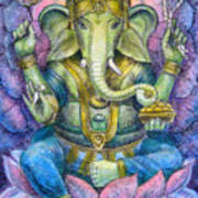 Lotus Ganesha Art Print by Sue Halstenberg