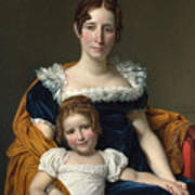 Louis David   Portrait Of The Comtesse Vilain Xiiii And Her Daughter Art Print