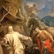 Louis Galloche - Saint Martin Sharing His Coat With A Beggar Art Print