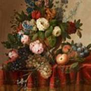 Louis Vidal, Still Life With Flowers And Fruit Art Print