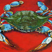 Louisiana Blue On Red Art Print by Dianne Parks