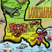 Louisiana Cartoon Map Art Print