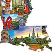Louisiana Map - New Orleans Art Print