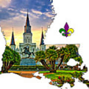 Louisiana Map - St Louis Cathedral Art Print