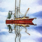 Louisiana Shrimp Boat 4 - Impasto Art Print