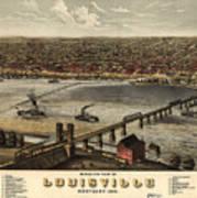 Louisville Vintage Map Art Print