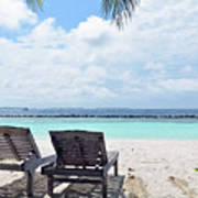 Lounge Chairs At The Beach In Maldives Art Print