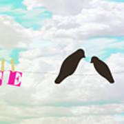 Love Birds Love Line Art Print