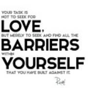 Love Barriers Within Yourself Rumi Acrylic Print By Razvan Drc