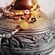Love Bracelet On Wooden Vase Art Print