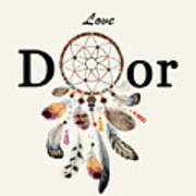 Love Dior Watercolour Dreamcatcher Art Print