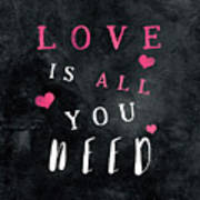 Love Is All You Need Motivational Quote Art Print