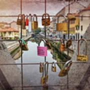 Love Lock Triangle At Naviglo Grande Milan Italy  Art Print