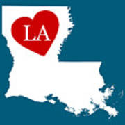 Love Louisiana White Art Print