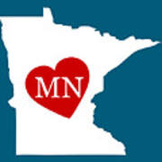 Love Minnesota White Art Print
