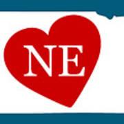 Love Nebraska White Art Print