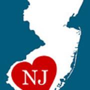 Love New Jersey White Art Print