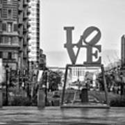 Love On The Parkway In Black And White Art Print
