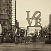 Love On The Parkway In Sepia Art Print
