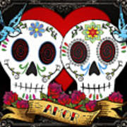 Love Skulls II Art Print