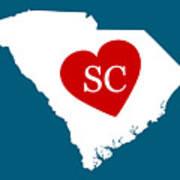 Love South Carolina White Art Print