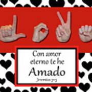 Love Spanish Bw Graphic Art Print