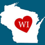 Love Wisconsin White Art Print