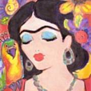 Lovely Frida And Gold Parrot Art Print
