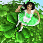 Lovely Irish Girl With A Glass Of Green Beer Art Print