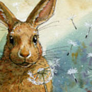 Lovely Rabbits - With Dandelions Art Print
