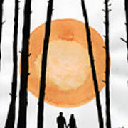 Lovers In Forest Art Print