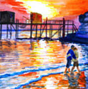 Lovers On Strand Art Print