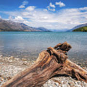 Low Angle View From The Rocky Dart River Bank At Kinloch, Nz Art Print