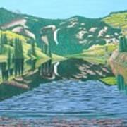 Lower Cataract Lake And Cataract Creek Falls Art Print