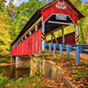 Lower Humbert Covered Bridge 2 - Paint Art Print