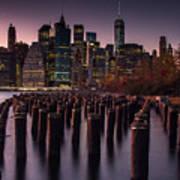 Lower Manhattan At Night Art Print