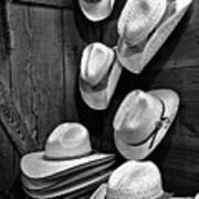 Luckenbach Hats Black And White Art Print