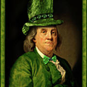 Lucky Ben Franklin In Green Art Print