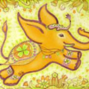 Lucky Elephant Orange Art Print