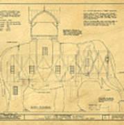 Lucy The Elephant Building Patent Blueprint  Art Print