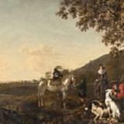 Ludolph De Jongh And Joris Van Der Hagen 1616 Rotterdam - Hillegersberg 1679 Or 1615 Hunting Party A Art Print