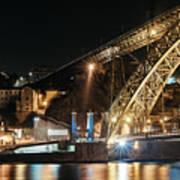Bridge Dom Luis At Night. Porto Art Print