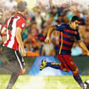 Luis Suarez Takes The Ball Past Athletic Bilbao's Eneko Boveda A Art Print