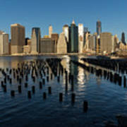 Luminous Blue Silver And Gold - Manhattan Skyline And East River Art Print