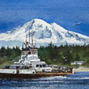 Lummi Island Ferry And Mt Baker Art Print